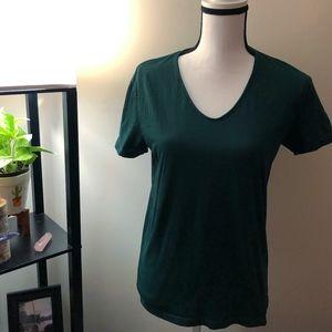 Zara Essentials Green Short Sleeve Shirt